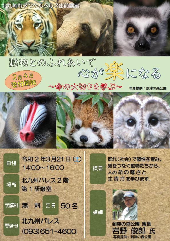 【北九州市メンタルヘルス出前講座】動物とのふれあいで心が楽になるイメージ